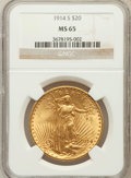 Saint-Gaudens Double Eagles: , 1914-S $20 MS65 NGC. NGC Census: (1353/147). PCGS Population(1916/100). Mintage: 1,498,000. Numismedia Wsl. Price for prob...