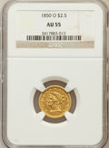 Liberty Quarter Eagles, 1850-O $2 1/2 AU55 NGC. Variety 3....