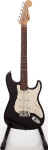 Musical Instruments:Electric Guitars, 2006 Fender Squire Stratocaster Black Solid Body Electric Guitar,Serial # NC676294. ...