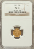 Gold Dollars: , 1861 G$1 AU55 NGC. NGC Census: (40/1211). PCGS Population (89/922).Mintage: 527,499. Numismedia Wsl. Price for problem fre...