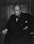 Photographs:20th Century, YOUSUF KARSH (Canadian, 1908-2002). Winston Churchill, 1941.Gelatin silver, printed later. 19-1/2 x 15-3/4 inches (49.5...(Total: 2 Items)