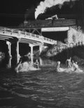 Photographs:20th Century, O. WINSTON LINK (American, 1914-2001). Hawksbill Creek SwimmingHole with No. 96 Northbound, 1956. Gelatin silver, circa...