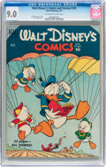 Golden Age (1938-1955):Cartoon Character, Walt Disney's Comics and Stories #126 (Dell, 1951) CGC VF/NM 9.0Off-white to white pages....