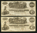 Confederate Notes:1862 Issues, T39 $100 1862 Two Examples PF-12 Cr. UNL.. ... (Total: 2 notes)
