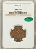Half Cents, 1856 1/2 C MS63 Brown NGC. CAC. C-1. NGC Census: (45/62). PCGSPopulation (54/17). Mintage: 40,430. Numismedia Wsl. Price f...
