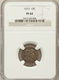 Proof Barber Dimes: , 1913 10C PR64 NGC. NGC Census: (62/46). PCGS Population (74/47).Mintage: 622. Numismedia Wsl. Price for problem free NGC/P...
