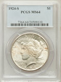 Peace Dollars: , 1924-S $1 MS64 PCGS. PCGS Population (1166/79). NGC Census:(877/70). Mintage: 1,728,000. Numismedia Wsl. Price for problem...