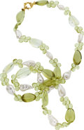 Estate Jewelry:Necklaces, Freshwater Cultured Pearl, Green Quartz, Gold Necklace. ...