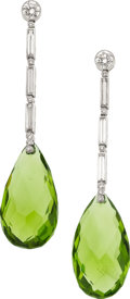 Estate Jewelry:Earrings, Peridot, Diamond, Platinum Earrings. ...