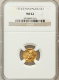 Commemorative Gold: , 1915-S G$1 Panama-Pacific Gold Dollar MS62 NGC. NGC Census:(386/3001). PCGS Population (428/4628). Mintage: 15,000. Numism...