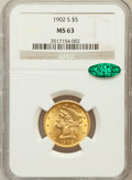 Liberty Half Eagles: , 1902-S $5 MS63 NGC. CAC. NGC Census: (500/683). PCGS Population(598/594). Mintage: 939,000. Numismedia Wsl. Price for prob...