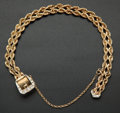 Estate Jewelry:Bracelets, . Woven Gold & Diamond Buckle Bracelet. ...