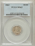 Seated Half Dimes: , 1863 H10C MS63 PCGS. PCGS Population (18/88). NGC Census: (13/70).Mintage: 18,000. Numismedia Wsl. Price for problem free ...