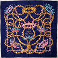 "Luxury Accessories:Accessories, Heritage Vintage: Hermes Navy, Gold & Pink ""Le Sacre duPrintemps,"" by Henri d'Origny Silk Scarf. ..."