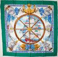 """Luxury Accessories:Accessories, Heritage Vintage: Hermes Green, Gold & Blue """"Vive le Vent,"""" byLaurence Thioune Silk Scarf. ..."""