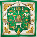 """Luxury Accessories:Accessories, Heritage Vintage: Hermes Green, Gold, and Brown """"Etriers,"""" by Francoise de la Perriere Silk Scarf. ..."""