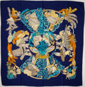 "Luxury Accessories:Accessories, Heritage Vintage: Hermes Navy, Light Blue, and Yellow ""Chapeau,"" byAnnie Faivre Silk Scarf. ..."