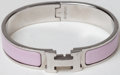 Luxury Accessories:Accessories, Heritage Vintage: Hermes Pink Enamel and Palladium Clic-Clac HBracelet. ...