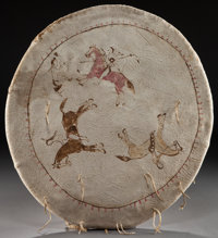 A SIOUX PICTOGRAPHIC PAINTED HIDE SHIELD c. 1890