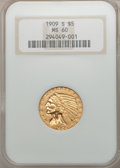 Indian Half Eagles, 1909-S $5 MS60 NGC....