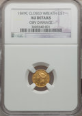 Gold Dollars, 1849-C G$1 Closed Wreath -- Obverse Damage -- NGC Details. AU.Variety 1....