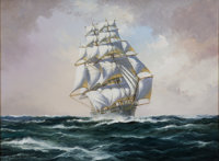JOHN BENTHAM DINSDALE (British, 1927-2008) The Clipper 'Nightingale' Oil on canvas 18 x 24 inches