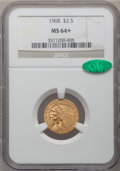 Indian Quarter Eagles: , 1908 $2 1/2 MS64+ NGC. CAC. NGC Census: (1314/426 and 31/16+). PCGS Population: (1482/691 and 75/43+). CDN: $825 Whsle. Bid...