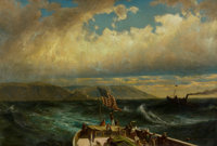 JAMES FAIRMAN (American, 1826-1904) Adieu to the Land, 1872 Oil on canvas 30 x 44 inches (76.2 x
