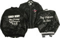 Music Memorabilia:Memorabilia, Roy Orbison, Chuck Berry, and Jerry Lee Lewis Tour Jackets. A blacksatin tour jacket, men's size Small, with white embroide... (Total:3 Item)