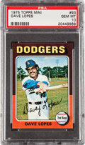 Baseball Cards:Singles (1970-Now), 1975 Topps Mini Dave Lopes #93 PSA Gem Mint 10 - Pop Two! ...