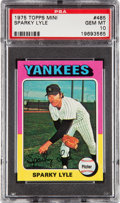 Baseball Cards:Singles (1970-Now), 1975 Topps Mini Sparky Lyle #485 PSA Gem Mint 10 - Pop One! ...