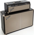 Musical Instruments:Amplifiers, PA, & Effects, 1965 Fender Bandmaster Black Guitar Amplifier Head and Cabinet,Serial # A12044....