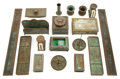 Art Glass:Tiffany , TIFFANY STUDIOS AND OTHER GLASS AND BRONZE PINE NEEDLEASSEMBLED DESK SET . Green glass with bronze mounts in th...(Total: 18 Items)