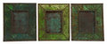 Art Glass:Tiffany , THREE TIFFANY STUDIOS GLASS AND BRONZE PINE NEEDLE PICTUREFRAMES . Green glass with bronze mounts in the Pine... (Total: 3Items)