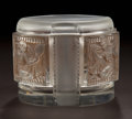 Art Glass:Lalique, R. LALIQUE CLEAR AND FROSTED GLASS HELENE BOX WITH SEPIAPATINA . Circa 1942. Engraved: R. Lalique . 3-1/8 i...