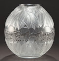 Art Glass:Lalique, LALIQUE CLEAR AND FROSTED GLASS AND ENAMEL TANZANIA VASE .Circa 1990. Engraved: Lalique, France, 1109. 8-1/...