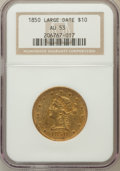 Liberty Eagles: , 1850 $10 Large Date AU53 NGC. NGC Census: (61/134). PCGS Population(19/30). Mintage: 291,451. Numismedia Wsl. Price for pr...