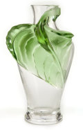 Art Glass:Lalique, LALIQUE CLEAR AND GREEN GLASS TANEGA VASE . Post 1945.Engraved: Lalique, France . 14-1/4 inches high (36.2 ...