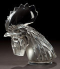 Art Glass:Lalique, LALIQUE CLEAR GLASS TETE DE COQ MASCOT WITH GREY PATINA .Circa 1932. Stamped: LALIQUE, FRANCE. 6-7/8 inches hig...
