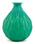 Art Glass:Lalique, R. LALIQUE CASED JADE GREEN GLASS MALESHERBES VASE . Circa1927. Engraved: R. Lalique, France, No 1014. 10 i...