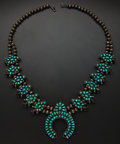 Estate Jewelry:Necklaces, Turquoise & Sterling Silver Squash Blossom Necklace. ...