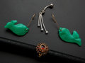 Estate Jewelry:Other , Chrysoprase Fish Earrings Garnet Ring & Belly Button Ring. ...(Total: 3 Items)