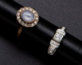 Estate Jewelry:Rings, Antique Diamond & Moon Stone Rings. ... (Total: 2 Items)
