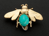 Turquoise & Gold Pin