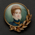 Estate Jewelry:Brooches - Pins, Very Fine Gold Portrait Brooch On Ivory With Diamonds. ...