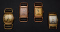 Timepieces:Wristwatch, Four Vintage Manual Wind Wristwatches. ... (Total: 4 Items)