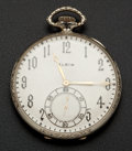Timepieces:Pocket (post 1900), Elgin New/Old Stock 14k White Gold G.M. Wheeler. ...