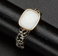 Estate Jewelry:Rings, White Agate Silver & Gold Ring. ...