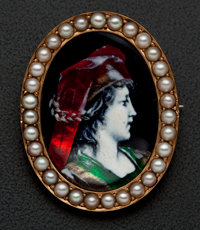 Gold Limoges Enameled Pin With Pearls