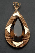 Estate Jewelry:Pendants and Lockets, Retro Smoky Quartz & Gold Pendant. ...